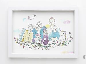 obraz akwarelowy portret rodzinny na podstawie zdjecia rodzina