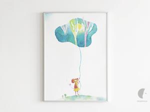 obraz akwarelowy myszka pokoj dziecka